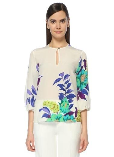 Etro Apaç Yaka Şifon Bluz Renkli